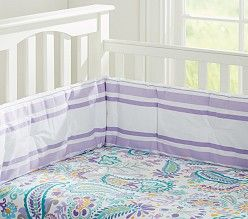 purple, turquoise, yellow paisley pottery barn baby girl bedding | like the sheet not the bumper