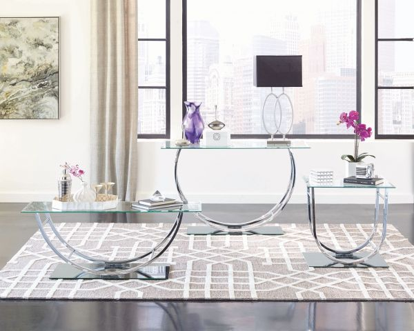 Here Is The Beautiful Contemporary Chrome Metal Glass 3pc Coffee Table Set From Coaster Furniture To