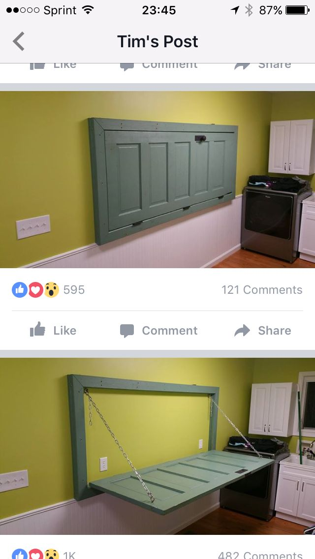 wallmounted door as folding table in laundry room