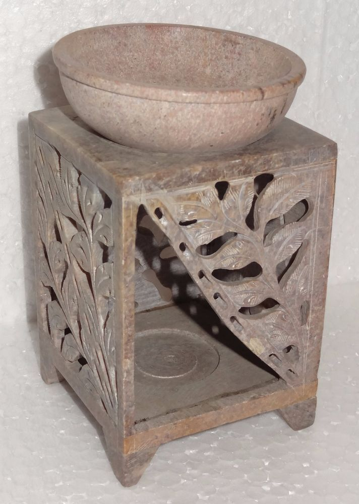 "4.5"" Natural Marble Aroma Lamp Handmade Candle Holder Hand Carved Home Decor  #AgarHeritageMarbleCrafts #ArtDecoStyle #Marble #NaturalStones #Handcarved #CandleHolder #Aroma #BuyLamp #GiftDecor"