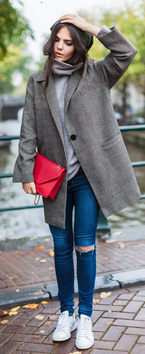 Doina Ciobanu is wearing a Grayson coat from Balenciaga, grey turtleneck from Reiss, ripped jeans from Abercrombie & Finch, beanie from H&M, bag from Saint Laurent Betty and the sneakers are from Adidas... | Style Inspiration