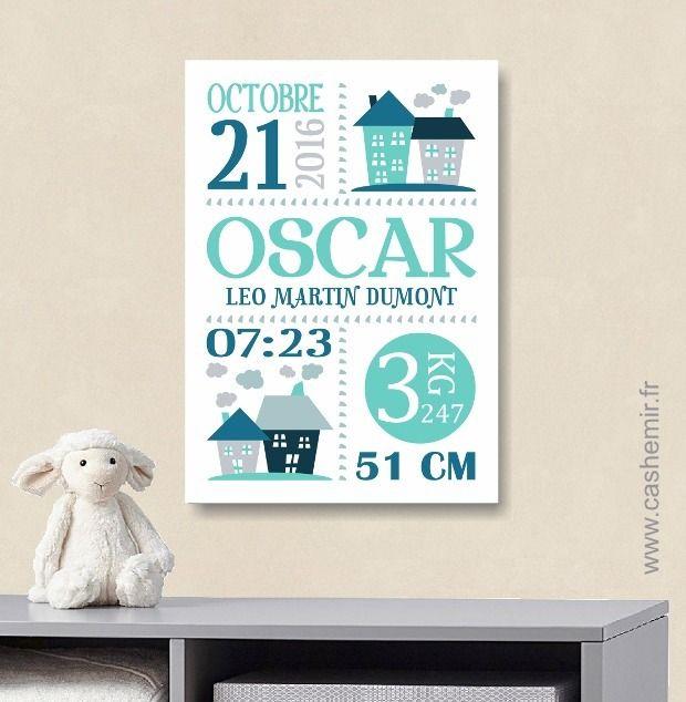 Cadeau de naissance garçon personnalisé affiche de naissance décoration chambre bébé enfant fichier