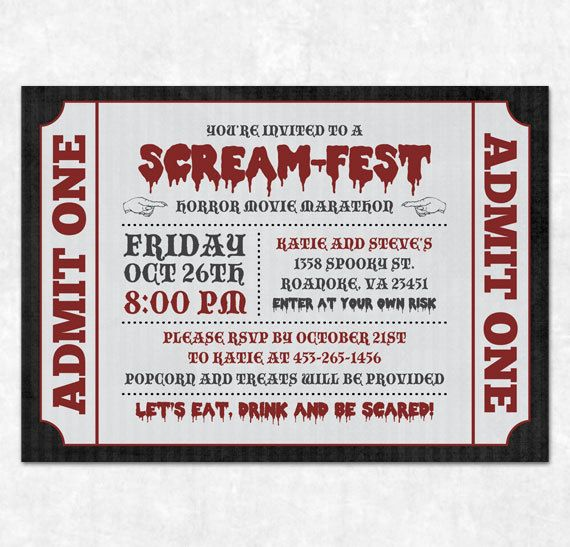 Printable Halloween Invitation - Horror Movie Marathon, Scream-Fest. $15.00, via Etsy.