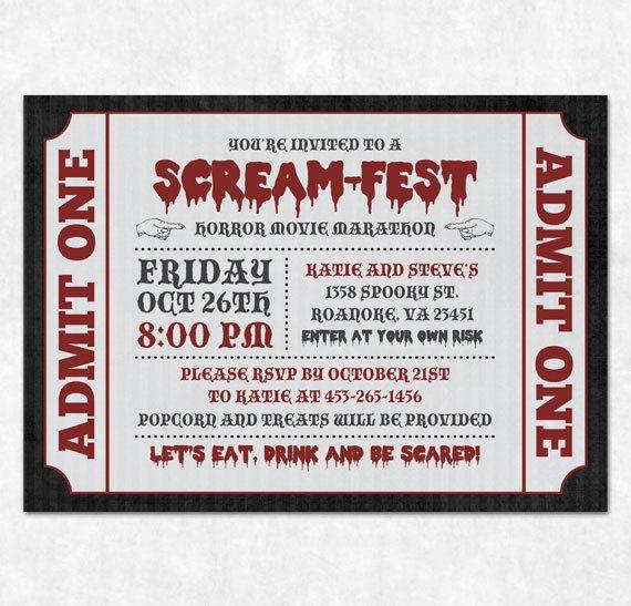 Printable Halloween Invitation - Horror Movie Marathon, Scream-Fest. $15.00, via Etsy.