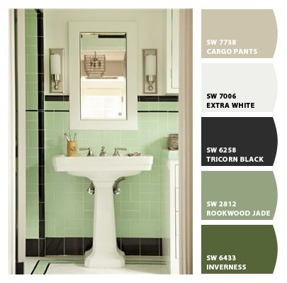 Vintage Art Deco Green Bathroom