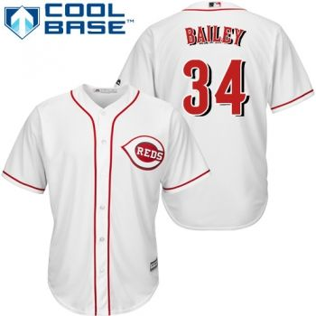 Youth Authentic Home White Cincinnati Reds Homer Bailey Jersey Cool Base MLB Majestic