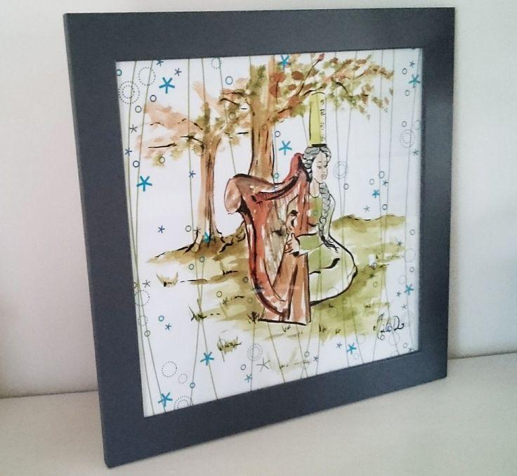 Cadre dessin bretagne Bigouden harpe celtique vert marron : Peintures par milid