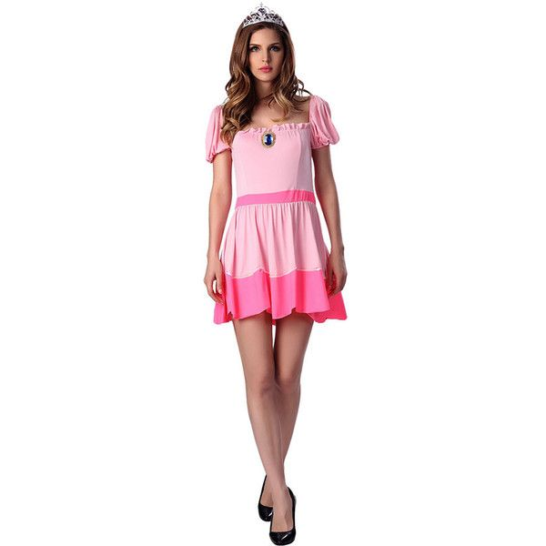 Womens Short Sleeve Princess Halloween Costume Dress Pink ($25) ❤ liked on Polyvore featuring costumes, pink, womens princess halloween costumes, sexy womens costumes, pink princess costume, sexy women halloween costumes and pink ladies costume