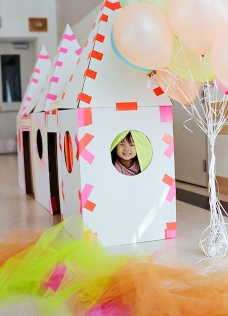 awesome play house: white cardboard and neon duct tapeDuct Tape, Cardboard House, Cardboard Boxes, Birthday Parties, Cardboard Playhouses, Parties Ideas, Fun, Kids, Diy