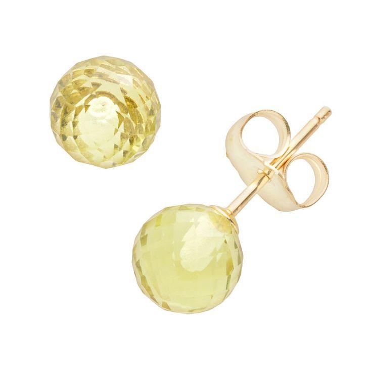 14k Gold Lemon Quartz Ball Stud Earrings, Women's, Yellow