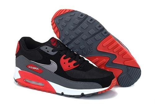 Nike Air Max 90 Essential Mens Black Red Grey White Trainers
