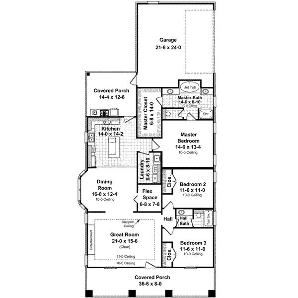 Bungalow style house plans 1800 square foot home 1 for One story 1800 sq ft house plans