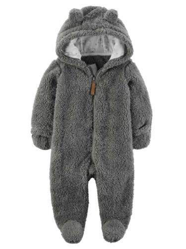 24015bd4f Carters Infant Boys Putty Gray Hooded Sherpa Baby Bunting Pram Light ...