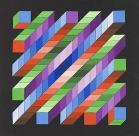 Artwork by Victor Vasarely, Retze, Made of Collage of light painted board