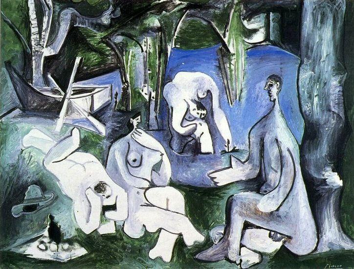 """Pablo Picasso - """"Le dejeuner sur l`herbe (Manet) 5"""". 1961 г"""