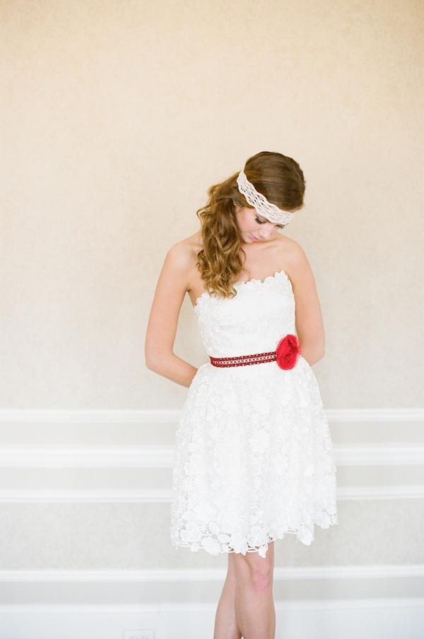 Red Wedding Inspiration | Belted mini wedding dress
