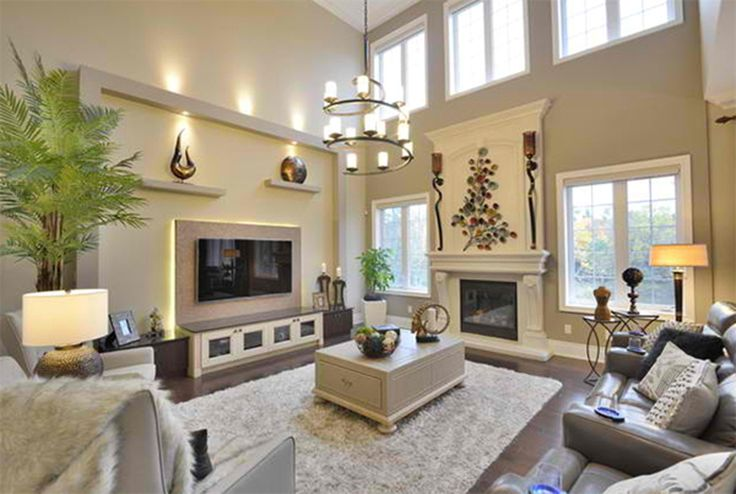 Living room high ceiling decoration for living room with for Large family room design