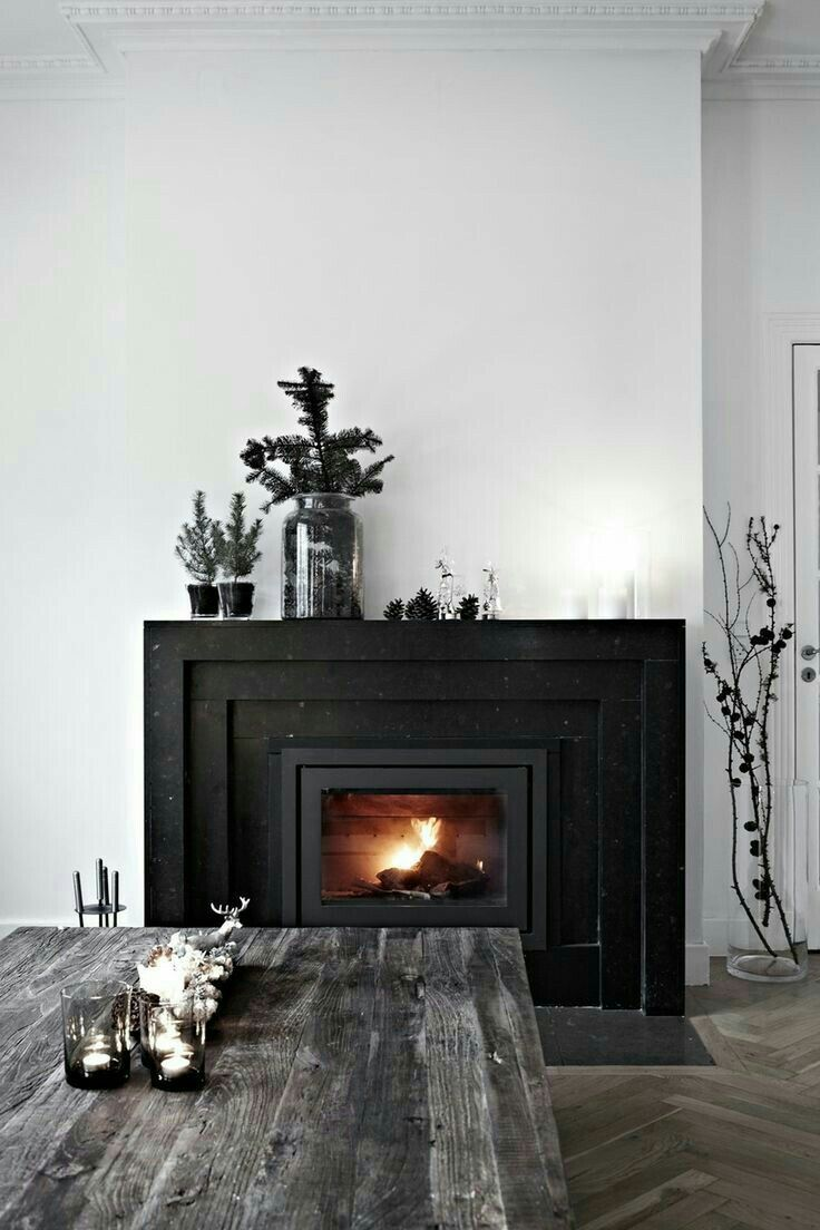 black fireplace and mantel styling