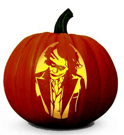 'The Dark Knight' Joker Pumpkin Carving Stencil for Halloween