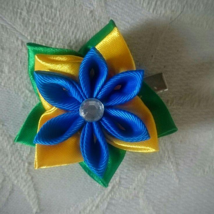 Brasile fermacapelli kanzashi handmade