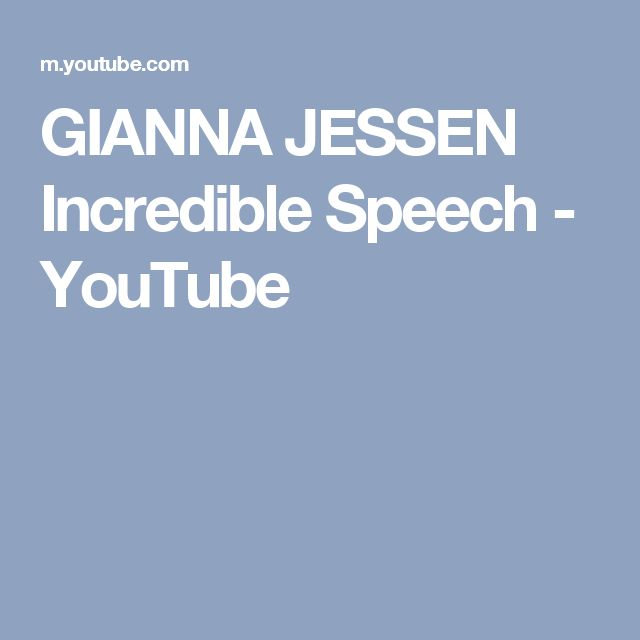 GIANNA JESSEN Incredible Speech - YouTube