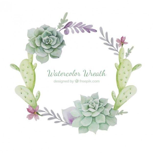 grinalda da aguarela com cactus Vetor grátis