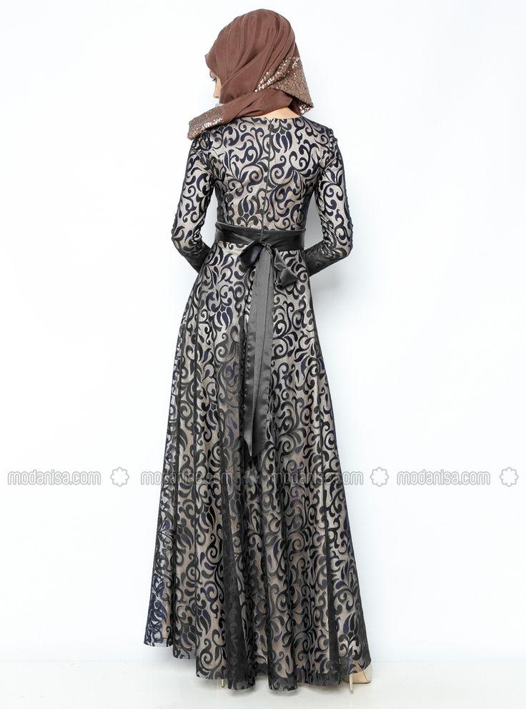 Asbella Abiye فستان سهرة - مختلط - ياقة الدراجة - أسود