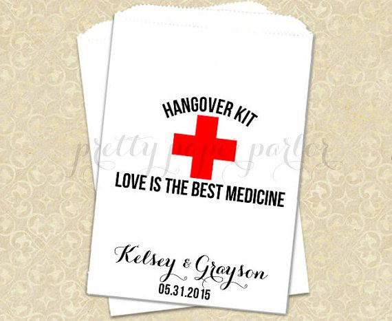 Hangover Kit Bags, Love is the Best Medicine, Wedding Favor Bags, Hangover Favor Bag, Hotel Welcome Bags, Recovery Kit Bags on Etsy, $12.50
