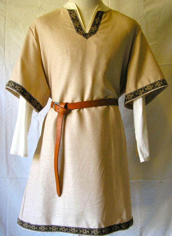 Viking Medieval SCA historical short sleeve linen Tunic by Tunics, $54.95