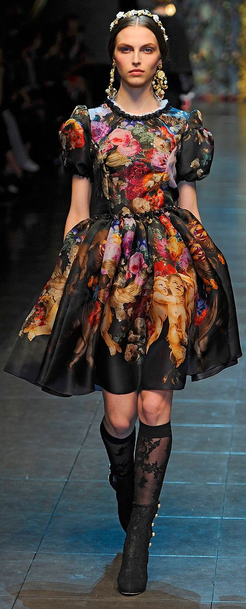 Bohemian Style from Dolce & Gabbana ~ Fall 2012.  I'm not usually a D fan but they got me on there florals and stitching in the past year, bravo!  I LOVE this dress :)