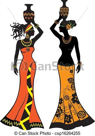 Beautiful African woman with vases - csp16264255