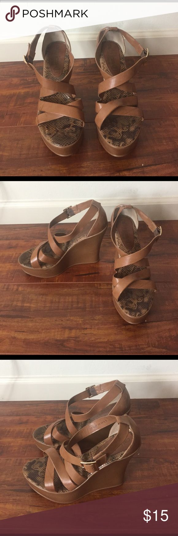 Camel heeled sandals 4.5 inch heeled camel color sandals! Perfect for a beach vacation. Cathy Jean Shoes Sandals