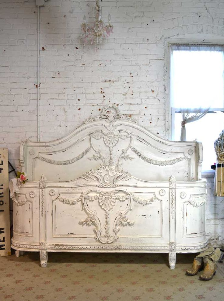 Painted Cottage Shabby French Linen Romantic Bed [BD701] - $2,495.00 : The Painted Cottage, Vintage Painted Furniture