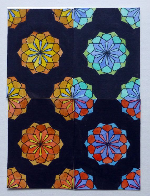 ACEO componibili dipinti a mano con acquarelli. geometric composition in modular ACEO. Click the image to know more....#ACEO #geometry #MITOliberty by #etsy