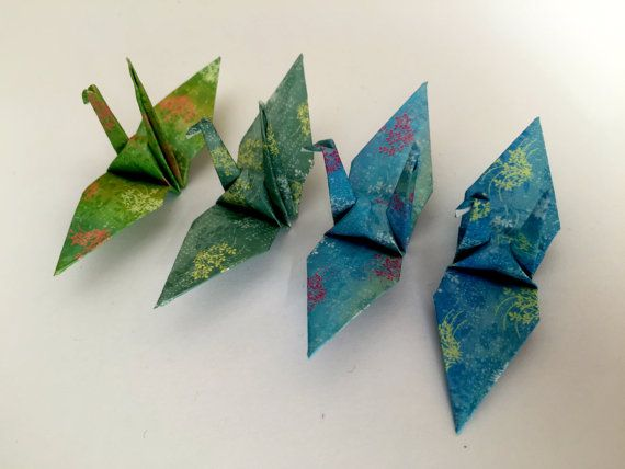 70 Small Origami Cranes  Blue 4 different colors by StarOrigami