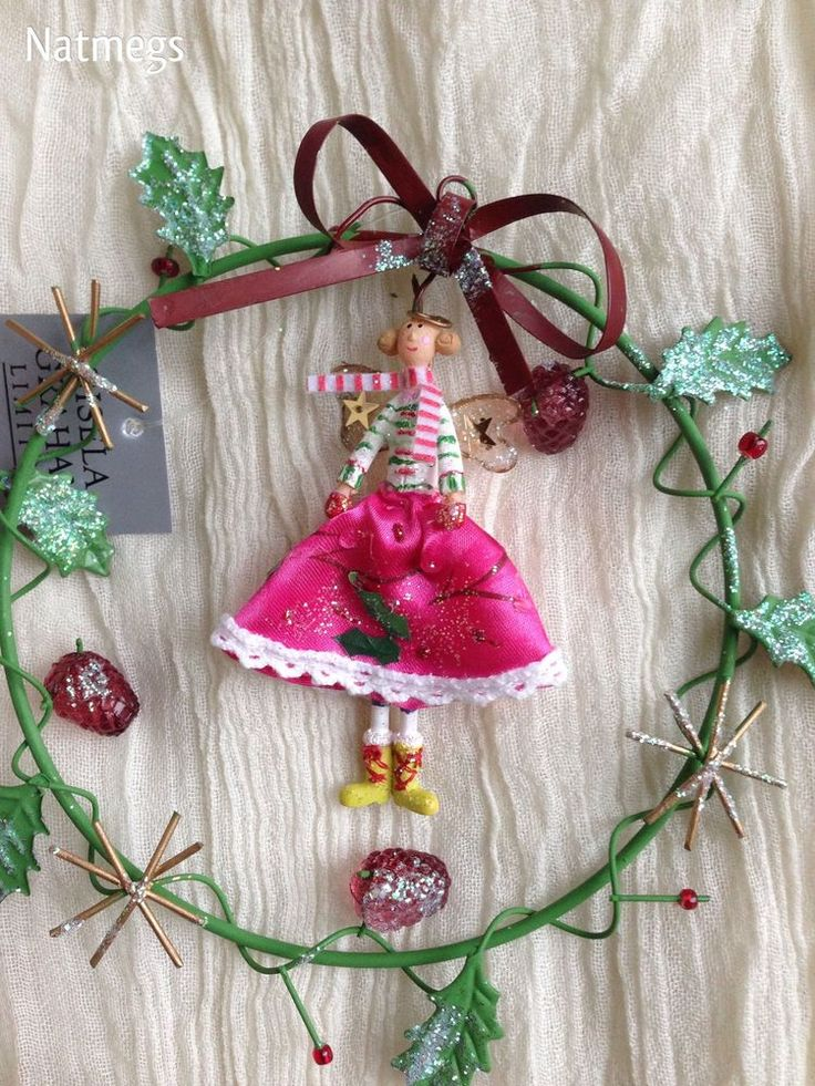 GISELA GRAHAM CHRISTMAS FAIRY SET IN A HOLLY BERRY RING~DECORATION~FREE PP UK