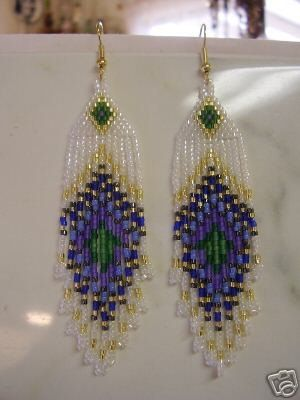 Native American Design Beaded Peacock Eye Pierced Earrings. $16.50, via Etsy.