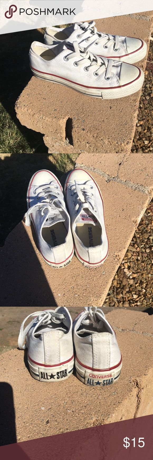 Women's white converse Women's white converse. Size 5.5. I am a 6-6.5 and they fit great. Logos on back are different...bought it this way. Hardly noticeable when wearing. Price reflects flaw. Make me an offer Converse Shoes Athletic Shoes