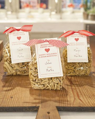 Present homemade pasta to your host or hostess in a cellophane bag topped with clip-art packaging and a pretty bow