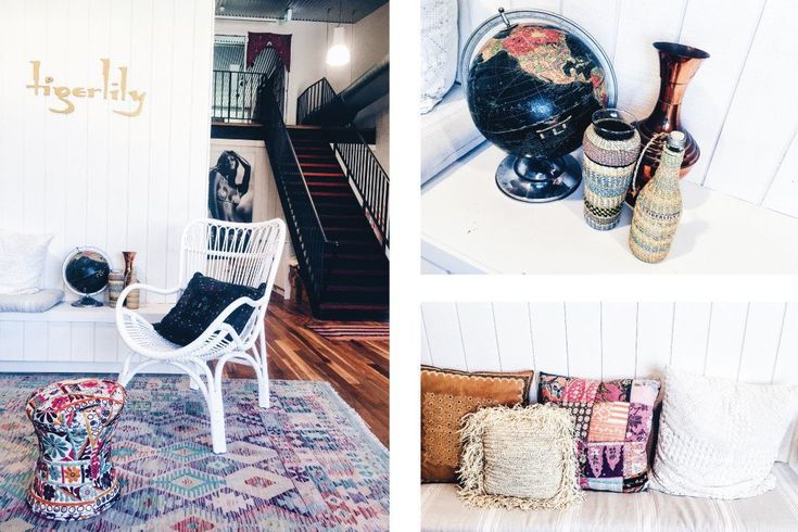 Interior space of bohemian inspired design studio of Tigerlily Swimwear - Every nook and cranny filled with treasures from far-flung travels | Click to read the full Design Blog