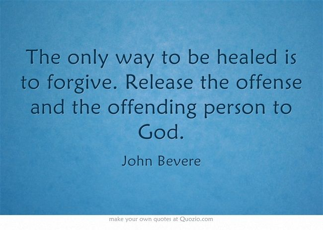 The only way to be healed is to forgive. Release the offense and the offending person to God.
