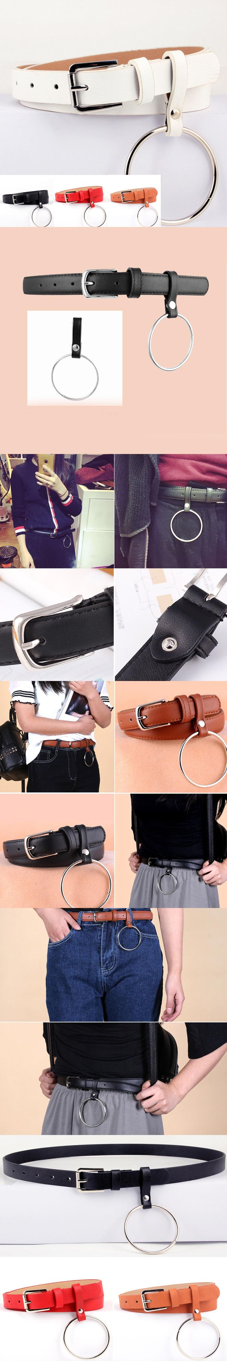 Hot Women Clothes Accessory Unisex Designer Exaggerated Round Metal Circle Belts Brand Punk Jeans Big Ring belt Wild jeans belt