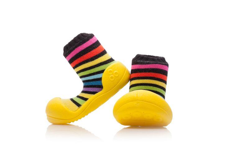 Antypoślizgowe, kolorowe buciki Attipas Rainbow Yellow