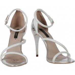 Zara White And Silver Ankle Strap Heels
