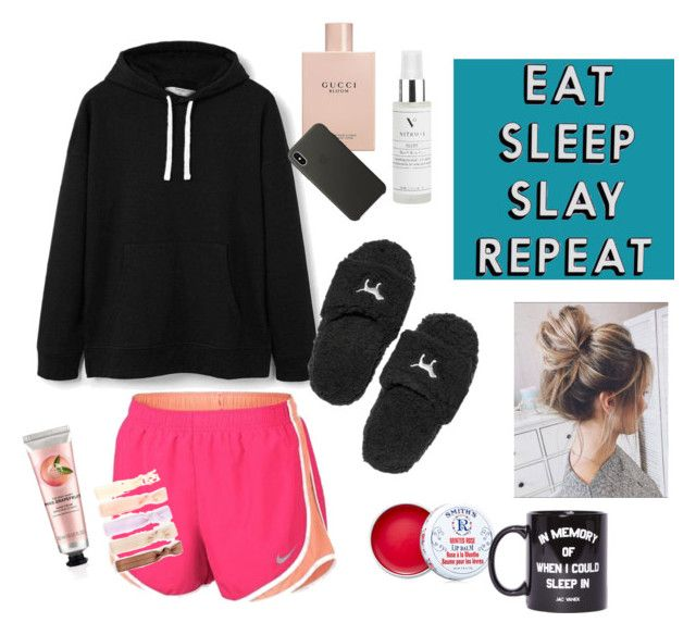 """""""Lazy Sunday ☕️"""" by briannawinter13 on Polyvore featuring MANGO, NIKE, Victoria's Secret, Vitruvi, Missguided, Gucci, The Body Shop, Smith's, Apple and Jac Vanek"""