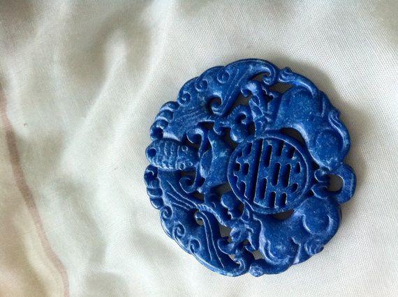 Hand Carved Serpentine Jade MedallionBlue by HandCarvedStore, $27.99