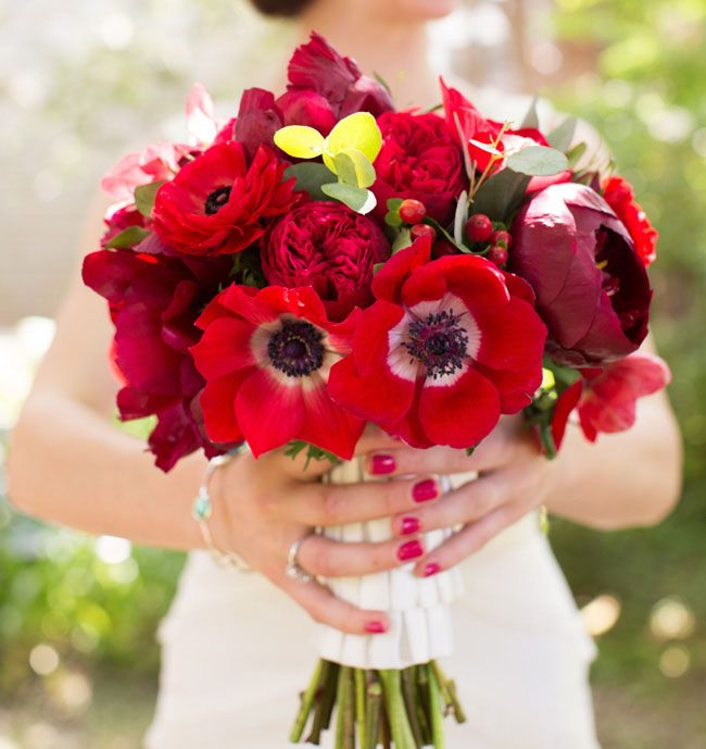 "Red bouquet with anemones, ranunculi, and many more. Wowzers. One of the prettiest ""kitchen sink"" huge/multiple/stuffed bouquets I've seen. (Yeah, I just thought of applying that term to today's trendy bouquets. Props.) :p"