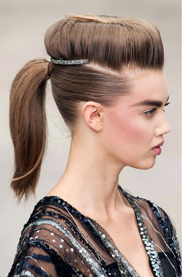 Hair shelves and bold brows for Chanel's F/W '13 Haute Couture show