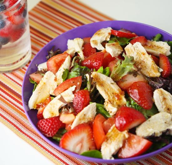 Strawberry Chicken Salad...--This sounds like a much simpler but delicious version of what I just tried to make for dinner.