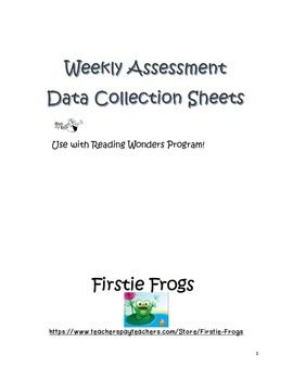 Included: Individual Data collection sheets for  Weeks 1-5  of all 6 Units of the first grade Reading Wonders ProgramEach Unit is decorated with it's own frog picture and is specifically designed to record student progress/performance of the skills tested each week.They would be great to use as data evidence in student data collection folders and for presentation during parent conferences.